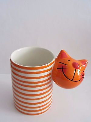 Colourful, orange and white striped, tabby cat mug/ pot, a loja do gato preto