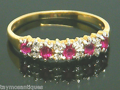 9k Gold 9ct solid gold vintage ruby & diamond ring size O  Boxed & Hallmarked