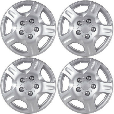 """4 PC Hubcaps Fits Select Auto 15"""" Silver Replacement Wheel Rim Skin Cover"""