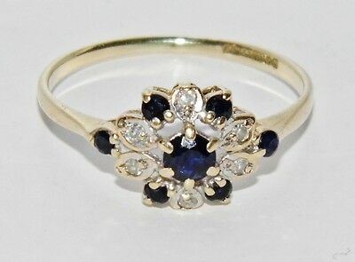 Vintage 9ct Yellow Gold Blue Sapphire & Diamond Cluster Ring - size L