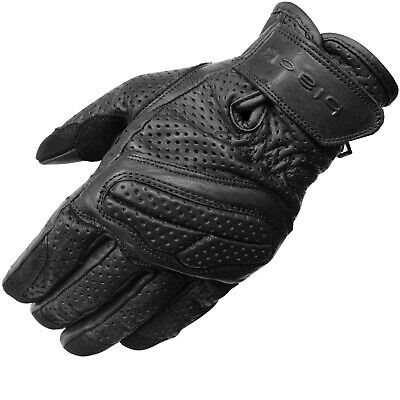 Black Active Leather Short Motorcycle Gloves Motorbike Bike Vented Summer Street