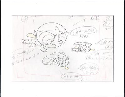 The Powerpuff Girls Production KEY Cell Drawing Cartoon Network COA Seal 2*