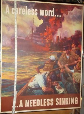 Original Vintage WWII war propaganda Poster A Careless word, A needless Sinking