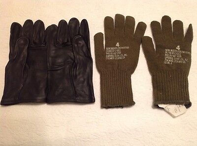 US Military Issue Heavy Duty Leather Cattlehide Work Gloves Black w/ liners Sz 4