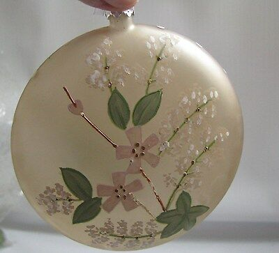 "Floral GLASS DISC  Ornament 4"" Victorian Christmas Style  BETHANY LOWE"