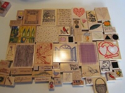 New Lot of 60 Rubber Mounted Stamps Hero Arts Stampabilities Uptown Rubber Stamp
