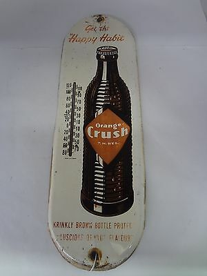 Orange Crush Brown Bottle  Tin Rare Brand  Vintage Advertising Thermometer 389-L