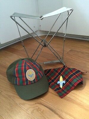Vintage Boy Scout Cub Scout Lot! Collapsible Chair W Hat And Scarf!