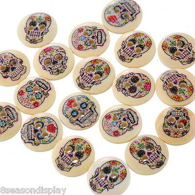 100PCs Wooden Buttons Mixed Color Round Skull Punk 2-hole Sewing Scrapbook DIY