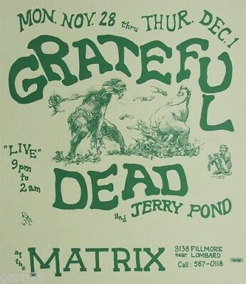 Grateful Dead Fillmore Era Matrix Concert Poster 1966 AOR