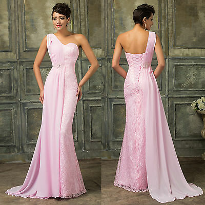 Long Chiffon LACE Wedding Bridesmaid Evening Dress Formal Party Prom Ball Gown