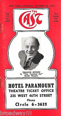 """Tennessee Williams """"YOU TOUCHED ME"""" Edmund Gwenn 1945 """"CAST"""" Theatre Guide"""