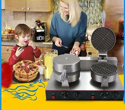 New Double Head Commercial Non Stick Plates Stainless Steel Deluxe Waffle Maker*