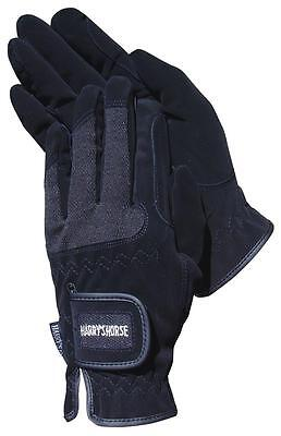 Harry's Horse Black Domy Suede Gloves with Mesh - Large