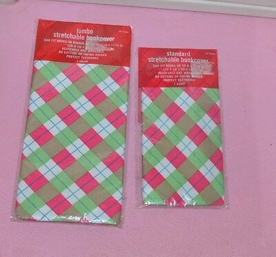 1 JUMBO 1 Regular Pink Green Stripes design Stretchable Fabric Book Cover Target