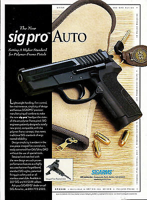 1998 SIG Pro Auto Pistol Ad Sigarms Print Advertising