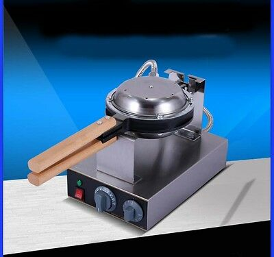 New Single Head Commercial 1415W Non Stick Pan Stainless Steel Egg Waffle Maker*