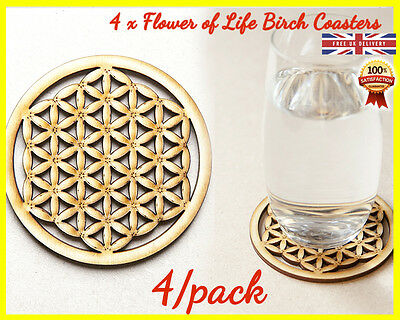 Flower of Life Wooden Coaster x 4 Spiritual Sacred Symbol Coffee Tea Holder