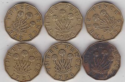 1939 To 1951 Key Date Brass Threepence In A Used Fine Condition