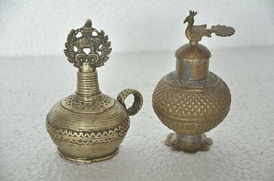 2 Pc Old Brass Engraved Unique Shape Handcrafted Kumkum Powder Boxes