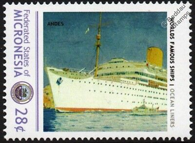 RMS ANDES (Royal Mail Line) Ocean Liner Cruise Ship Stamp (Micronesia)