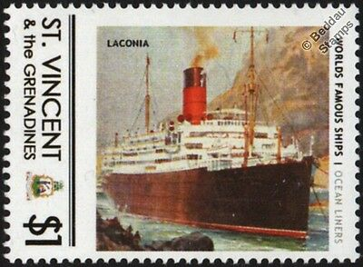 RMS LACONIA (Cunard Line) Ocean Liner Cruise Ship Stamp (St Vincent)