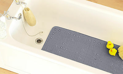 Country Club Cushioned Bath Mat with Suction Cups Grey 42 x 90cm Anti Slip New