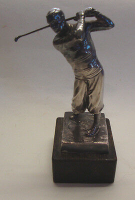 1920s silver plated golf trophy figure playing golf