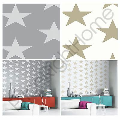 Arthouse Starry Night Wallpaper Gold And Silver Stars Feature Wall Decor New