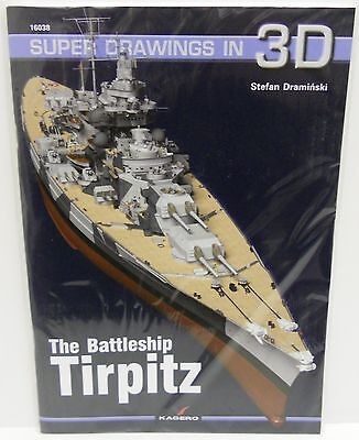 Kagero 16038 - Super Drawings in 3D - The Battleship Tirpitz        Book     New