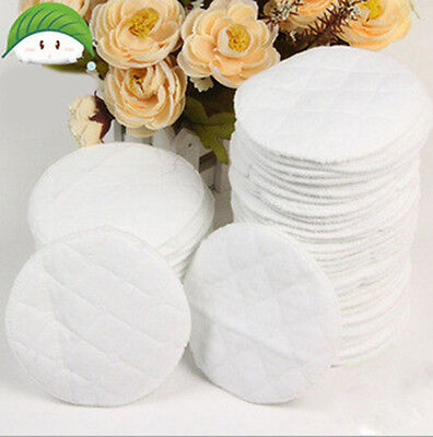 20x Bamboo Reusable Breast Pads Nursing Waterproof Organic Plain Washable Pads D