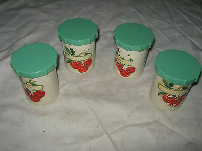 4 x Vintage 50's Australian Marquis Green Lidded Bakelite Spice Canisters MFJ8