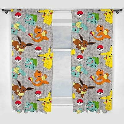 "POKEMON GO CATCH 66"" x 54"" CURTAINS NEW BEDROOM - IN STOCK"