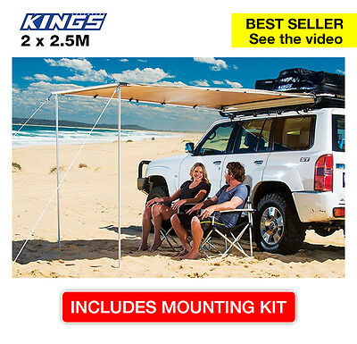 Adventure Kings Premium 4wd side Awning - 2 x 2.5m - waterproof, canvas, incl mo