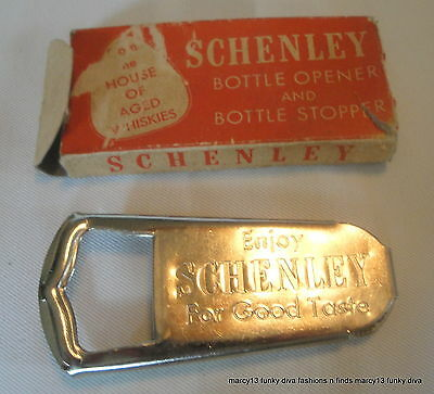 IOB Vintage Schenley Whiskey Metal Advertising Bottle Opener