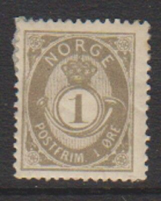 Norway - 1891, 1 ore Olive-Brown or Drab stamp - M/M - SG 81 or 82