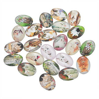 10pcs Mixed Oval Glass Embellishments Flatback Scrapbooking Cute Cat