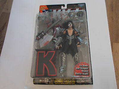Kiss Boxed Figure Gene Simmonds With Bass Winged Snake And Battle Staff