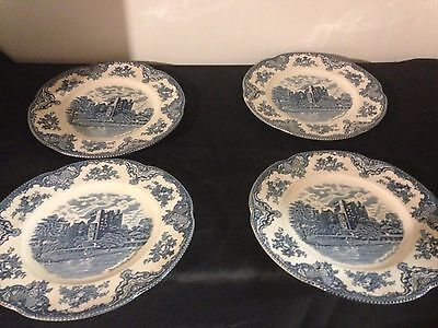 4 Johnson Brothers Blue Old Britain Castles Dinner Plates