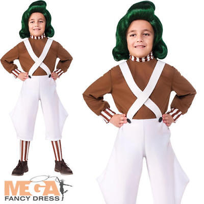Oompa Loompa Childs Fancy Dress Book Day Factory Worker Boys Girls Kids Costume