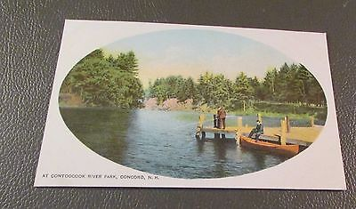 Old Postcard  CONCORD, NEW HAMPSHIRE   {CONTOOCOOK RIVER PARK--BOAT DOCK}
