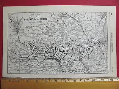 122 Year Old Chicago Burlington & Quincy Railroad  System Map Printed In 1895
