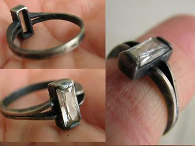 Very Nice Vintage Silver Ring With Stone ! #5428