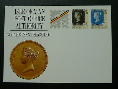 stamp on stamp black penny stationery card Isle of Man 71129