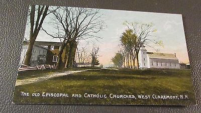 Old Postcard  WEST CLAREMONT, NEW HAMPSHIRE   {VIEW OF EARLY CHURCHES}