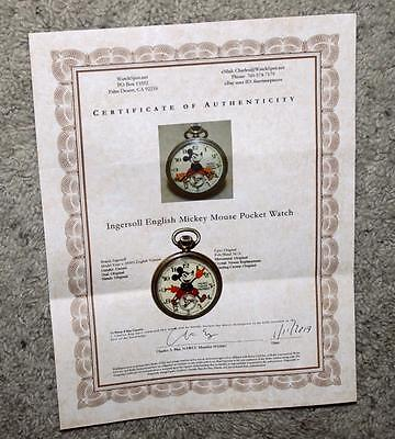 1St English! Disney Mickey Mouse 1933 Ingersoll Pocket Watch+Detail Service+Coa