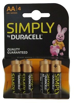 2 x Packs of 4 Simply Duracell AA Alkaline Long Lasting Batteries MN1500 LR6 NEW