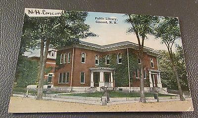 Old Postcard  CONCORD, NEW HAMPSHIRE   {THE OLD PUBLIC LIBRARY--1919}