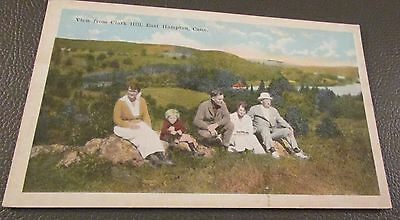 Old Postcard-  EAST HAMPTON, CONNECTICUT  { FAMILY RESTING ON CLARK HILL}
