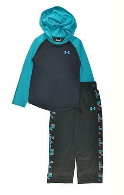 Under Armour Boys Charcaol L/S Thermal  Hoodie Top 2pc Pant Set Size 5